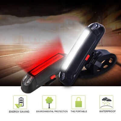 LED Bicycle Bike Cycling MTB Front Rear Tail Light USB Rechargeable 6 Modes Lamp