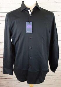 NEW-Michelsons-Of-London-Men-039-s-Slim-fit-Black-Textured-Dress-Shirt-Med-75-00