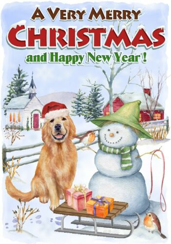 "by Starprint Blank inside 4/"" x 6/"" Golden Retriever Dog A6 Christmas Card"