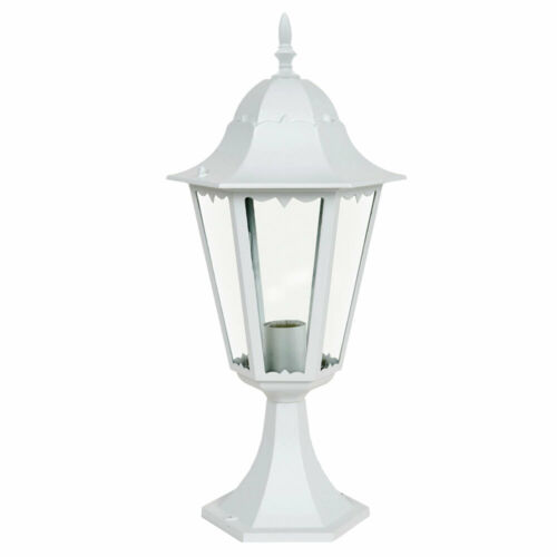 LED Sockel Leuchte Garten Laterne Außen Veranda Beleuchtung ALU Steh Lampe weiß