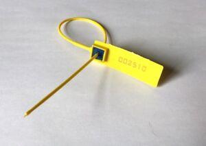 Yellow Plastic Security Seal. Cable Tie. Plain Strap Metal Insert. Anti-Tamper.