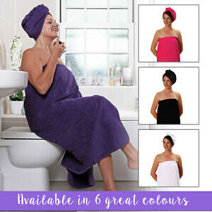 Swimming Wrap TowelsRus Women/'s Sarong /& Hair Turban Set in a choice of colours