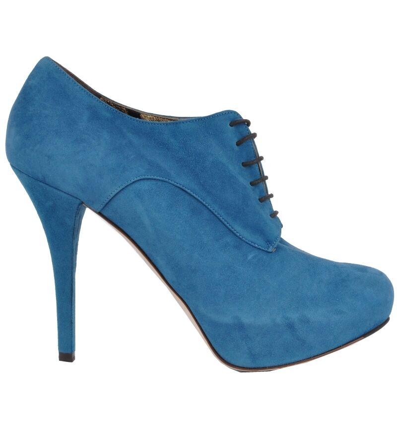 DOLCE & GABBANA Plateau Stiefeletten Pumps Blau Boots Blue Bottes 03069
