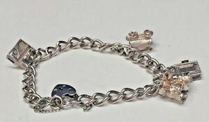 925-STERLING-SILVER-CHARM-BRACELET-WITH-4-CHARMS