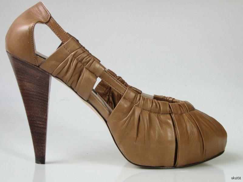 New  520 DUSICA KOTUR SACKS camel rushed platforms heels shoes 40 10 very pretty
