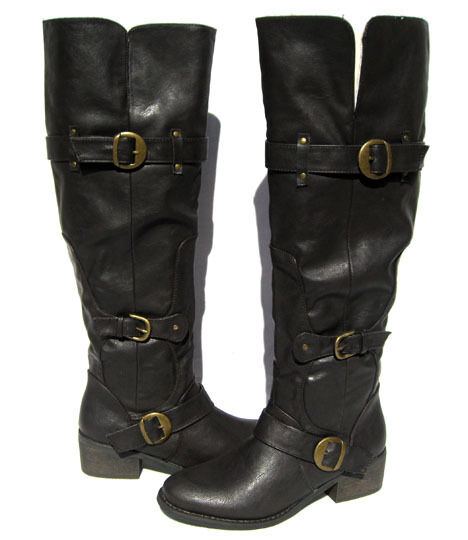 New Women's Fashion Knee High Boots Brown shoes winter snow Ladies size 5.5