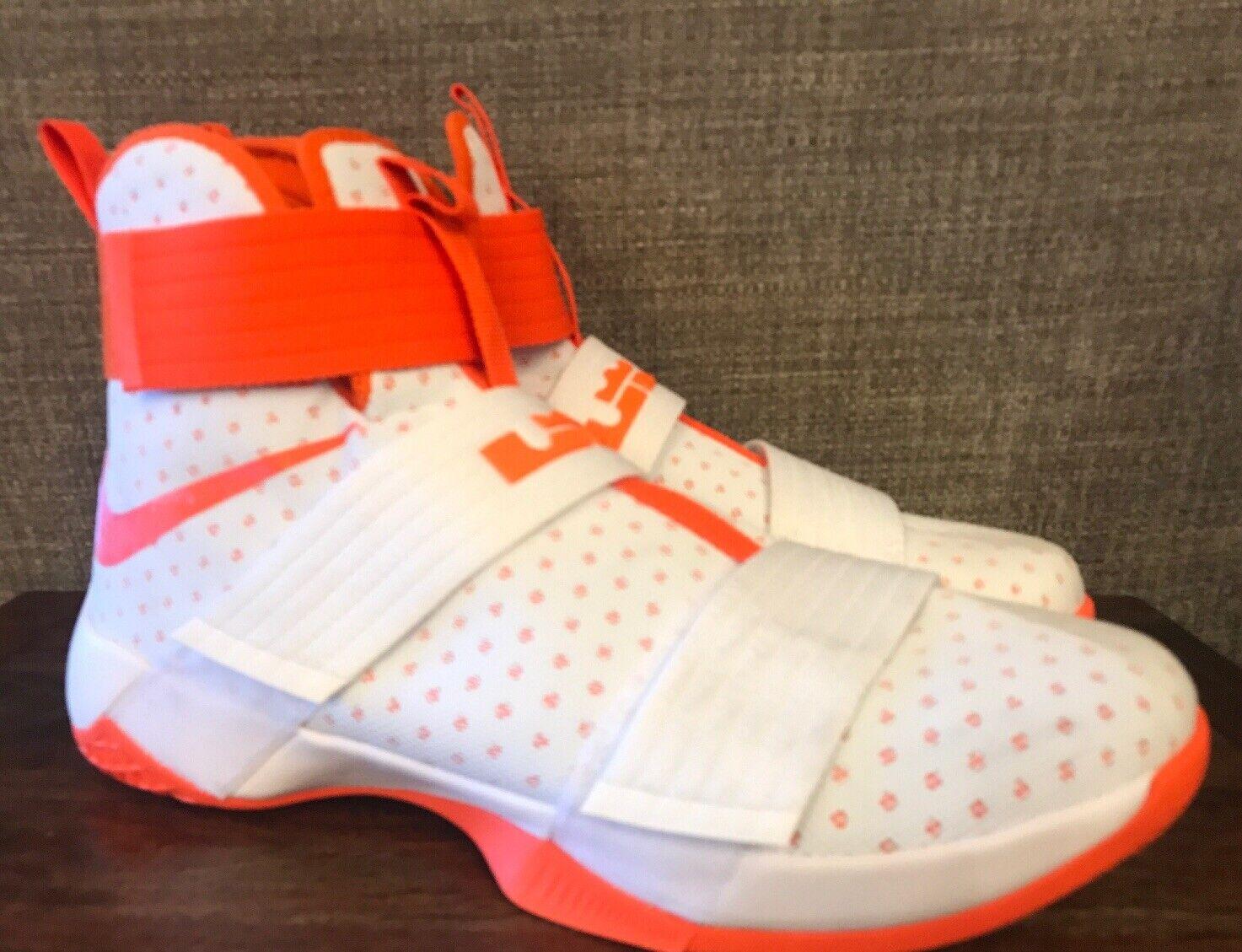 Nike Men's LeBron Soldier 10 TB Promo White orange Blaze Size 14 856489-180