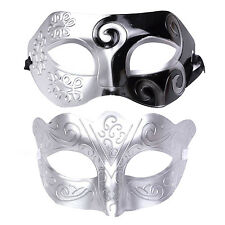 """His & Hers Halloween Mask Set. Masquerade Party  - """"Warrior"""" - Silver / Black"""
