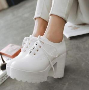 Women-039-s-Ladies-Lace-Up-Ankle-Boots-High-Heel-Platform-Punk-Block-Platform-Shoes