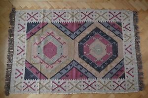 Large-Kilim-Rug-Indian-Hand-Knotted-Hexagon-Geometric-120x180cm-4x6ft-Jute-Wool