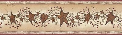 New TIN STARS WITH BERRIES PREPASTED WALLPAPER BORDER Country Kitchen Wall Decor