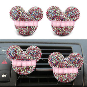 2-Pcs-Mickey-Mouse-Car-Fragrance-Air-Freshener-Auto-Vent-Perfume-Diffuser-Pink