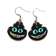 Spooky Alice In Wonderland Handmade Animal Cheshire Black Cat Gift Idea Earrings