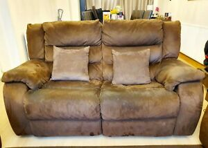Details about DFS Brown Suede Sofa Electric Recliner 2 Seater! Used But In  Solid Condition!