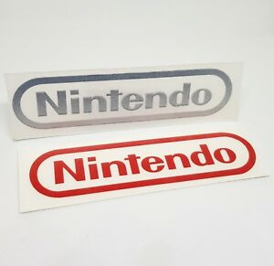 Nintendo-Logo-Sticker-Vinyl-Decal-RED-amp-CHROME-Silver-No-Video-Game-Console