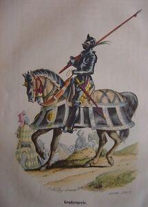 Distingué Gravure Gendarmerie De 1495 à 1545 Gendarme à Cheval
