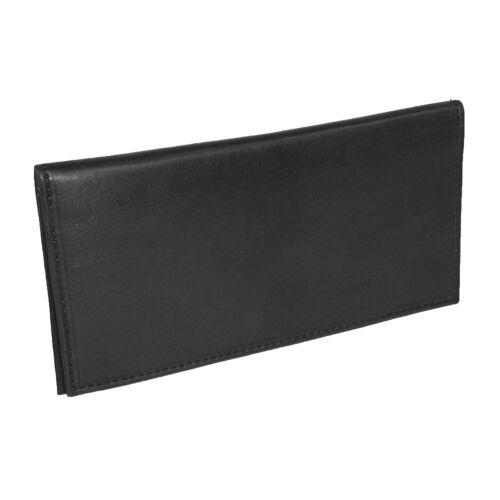 RFID Scan Blocking Black Genuine Leather Mens Checkbook Cover Organizer Wallet