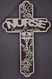 Details About Nurse Health Care Scrolled Wooden Cross Wall Hanging Amish Made Art
