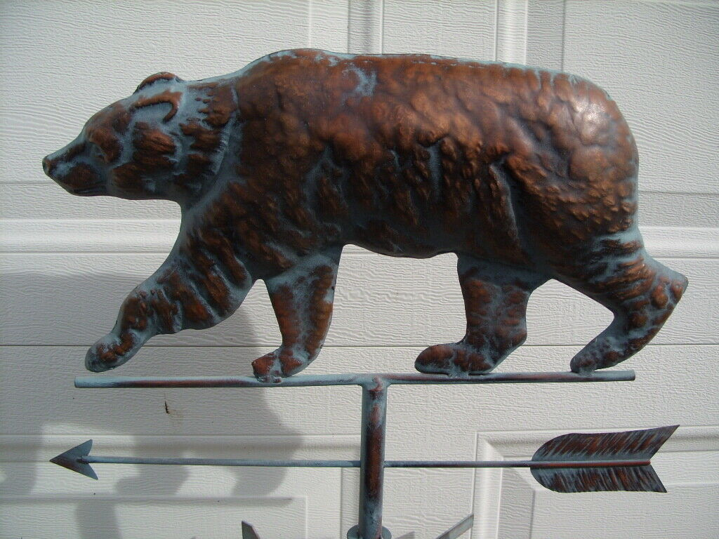Bear Weathervane Antique Copper Finish Funtional Weather Vane HandCrafted