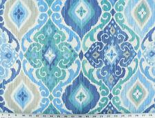 Drapery Upholstery Fabric Indoor/Outdoor Mottled Ikat Print - Cobalt Blue