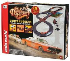 Auto World  Dukes of Hazzard Curve hugger Slot Car Race Set w/Jumps 14' # SRS259