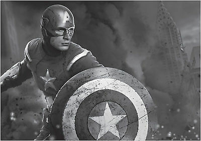 Captain America Poster Art Print Black /& White Card or Canvas