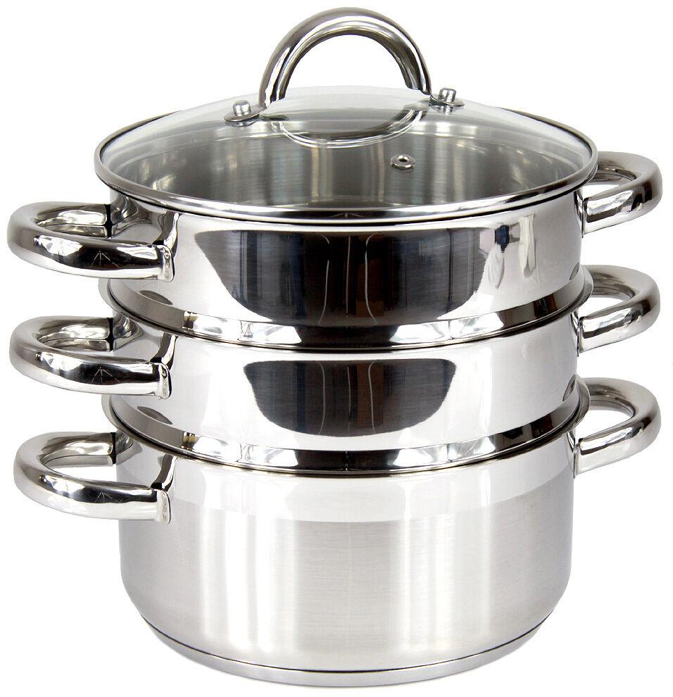 Ssw Inox vapeur garer vapeur réchaud vapeur marmite vitalo 4 pièces 20 CM INDUCTION