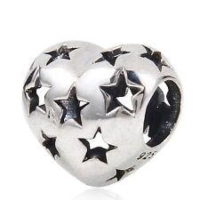 STAR LOVE HEART Genuine 925 Sterling Silver Charm Bead Fits European Bracelet