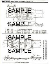 """RENAULT CARAVELLE MODELS R.1062 & """"S"""" R.1131 FRAME DIMENSION DIAGRAM CHART MOF 2"""