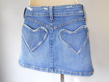 Nos Rock Steady USA Heart Pocket Rockabilly Western Blue Jean Mini Denim Skirt S