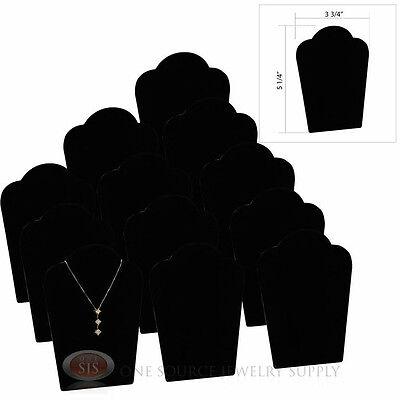 "(12) 5 1/4"" Black Velvet Padded Pendant Necklace Display Easel Presentation"
