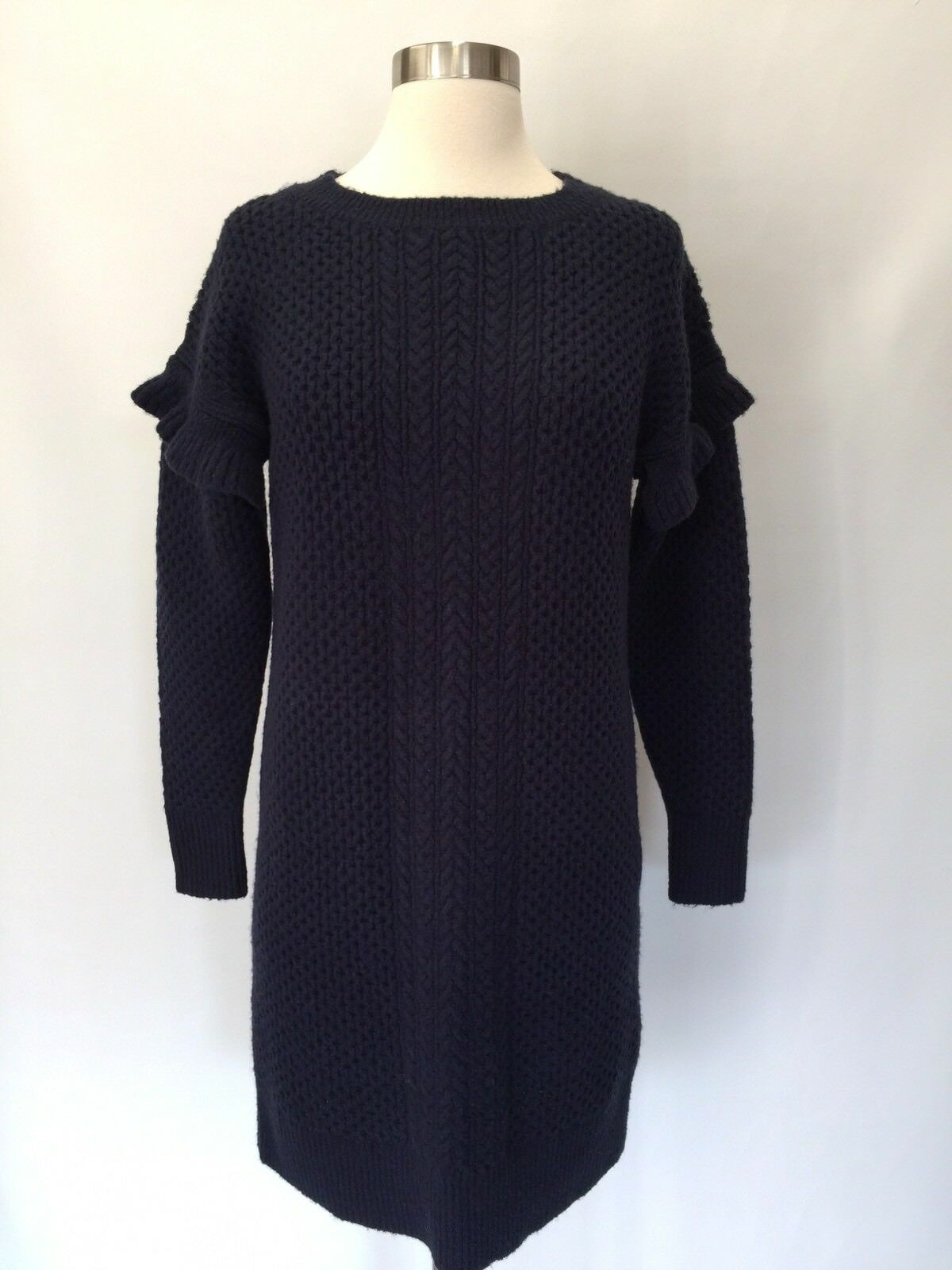 J J J Crew Cable-knit ruffle-sleeve sweater-dress Navy bluee Size XS H2478 2d69bd