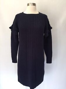 943ef2e2be3 J Crew Cable-knit ruffle-sleeve sweater-dress Navy Blue Size XS ...