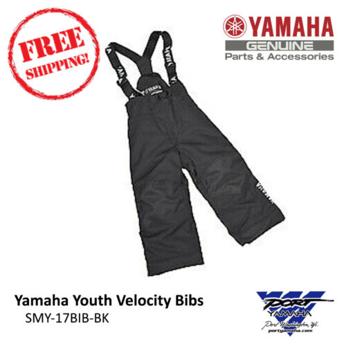 Yamaha Youth Velocity Snowmobile Bib Black Sizes 8 10 12 14 16 SMY-17BIB-BK