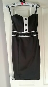Ladies-Strapless-Black-amp-White-Pin-Up-Tux-Cocktail-Dress-Size-10-Brand-New