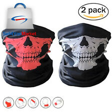 2 Pack Red Black Seamless Skeleton Skull Face Tube Mask Bandana Motorcycle Scarf