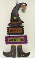 Halloween Hanging Decor Happy Haunting Witch Hat Shoes Sparkling Tin Metal