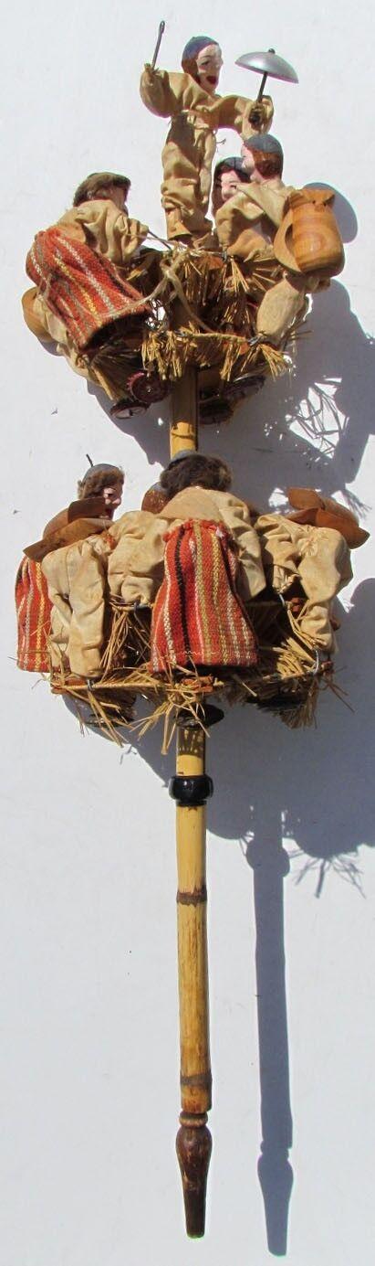 UNUSUAL LARGE VINTAGE HAND MADE FOLK ART - MOVEABLE PUPPET DOLLS on POLE