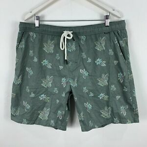 Depactus-Mens-Board-Shorts-40-Green-Floral-Elastic-Waist-Drawstring-Pockets