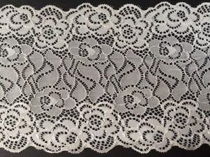 "laverslace Cream Floral Rose Wide Stretch Lace Trim 8.5/""//22 cm Clothes Lingerie"