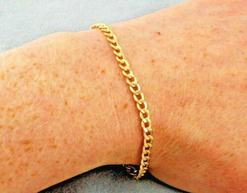 7 inch 9ct Yellow Gold Hollow Flat Curb Bracelet 18cm