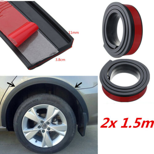 "2x 59/"" Universal Car Wheel Arch Trim Fender Flares Protection Strip Rubber Black"