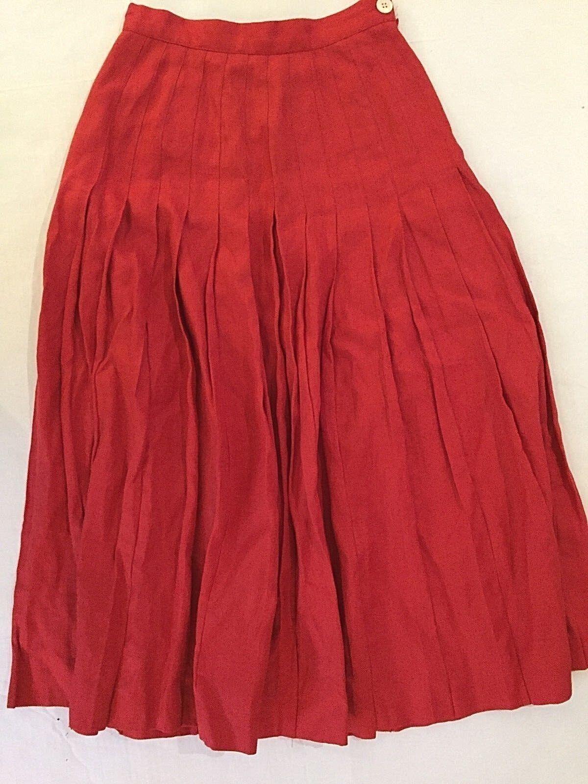 Perry Ellis Portfolio wmns sz 4 Red pleated dropwaist 100% linen maxi skirt EUC