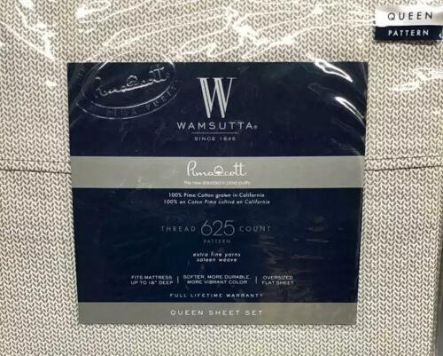 Wamsutta 625-Thread Count Pimacott 4 Pieces Sheet Set in Leaf Gray Queen Size