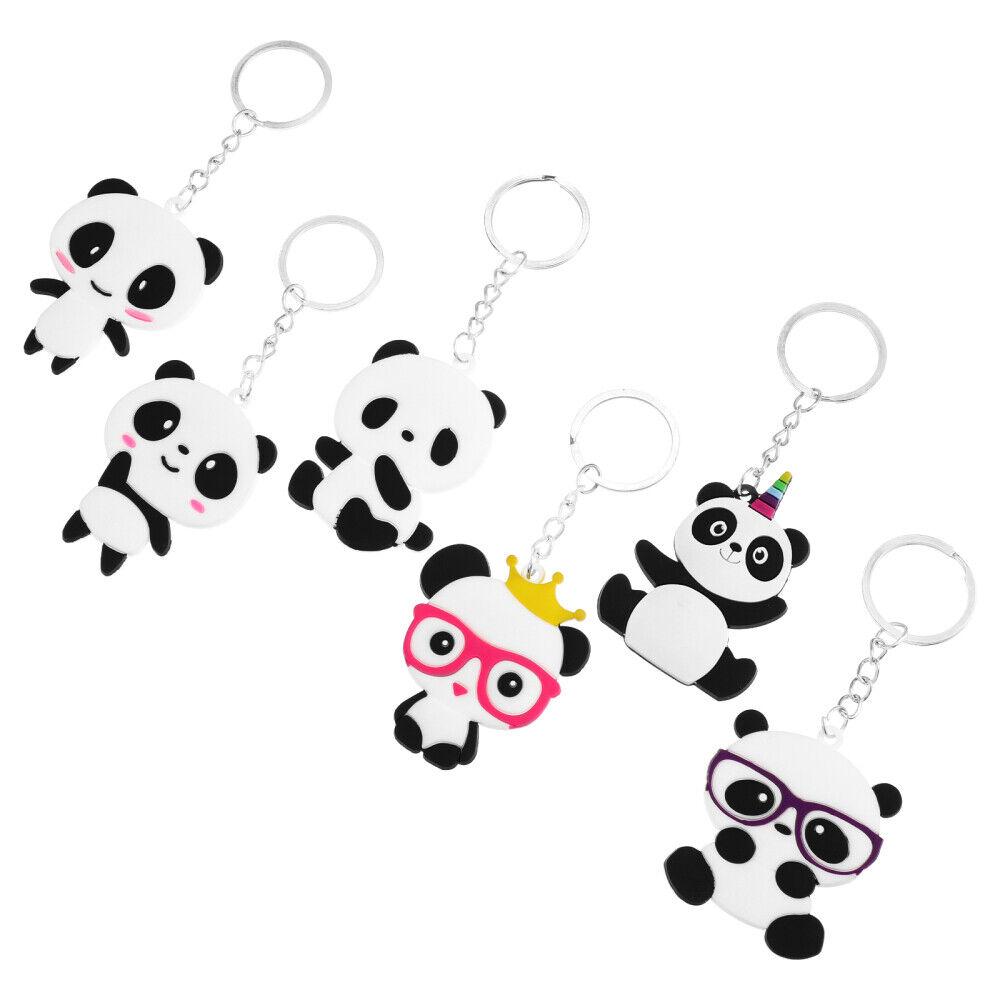 6pcs Durable Creative Party Favor Panda Keychain for Kids Children