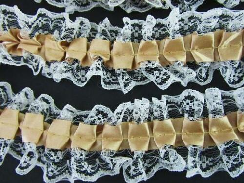 """8 yards Pleated Gold Satin//White Floral Lace 1.5/"""" Ruffle Trim//craft//sewing T114"""