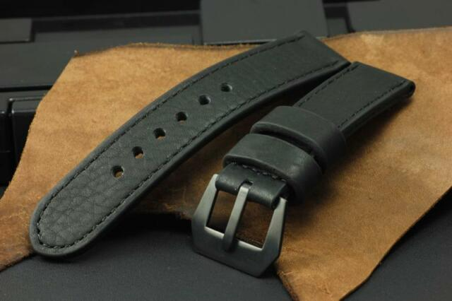 All Black Genuine Cow Leather 26mm Panerai Watch Band Strap+PVD GPF Buckle Mens