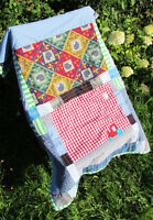 Original Handmade Blue Red Cotton Newborn Baby Gift Hedgehog Blanket Cot Quilt