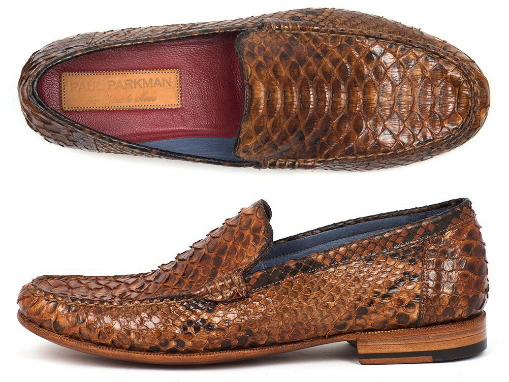 spedizione gratuita in tutto il mondo Paul Parkman Uomo Genuine Genuine Genuine Python Moccasins Marrone & Tobacco Handmade scarpe  tutti i prodotti ottengono fino al 34% di sconto