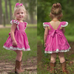 4db6096cf6bc2 Details about Baby Girls Kids Lace Sundress Summer Princess Party Beach  Wedding Casual Dress